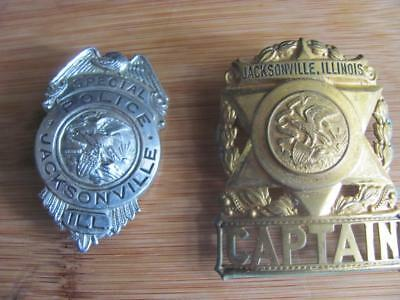 2 Vintage Obsolete Police Badges Captain & Special Police Jacksonville Ill Badge