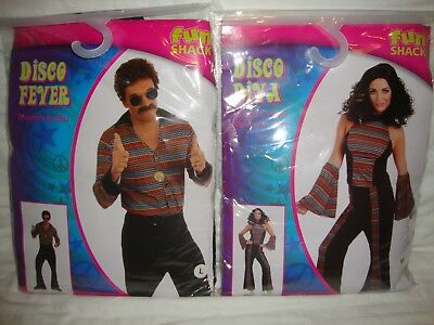 Couples Costume 1970's Vintage Disco Fever Dancers Set - Sizes Women M & Men L