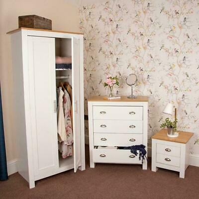 Wido WHITE 3 PIECE BEDROOM FURNITURE SET WARDROBE CHEST OF DRAWERS BEDSIDE TABLE