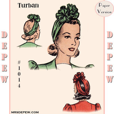Ladies' Accessory Vintage Sewing Pattern 1940s Turban Rosette Hat One Size #1014