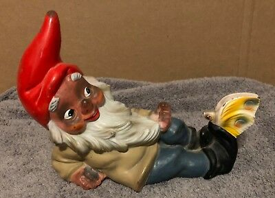 "VINTAGE WEST GERMAN HEISSNER GARDEN GNOME WITH BUTTERFLY  9"" Long MARKED 923 A"