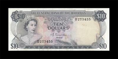1974 British Colony Bahamas Qeii $10 **rare** (( Ef ))