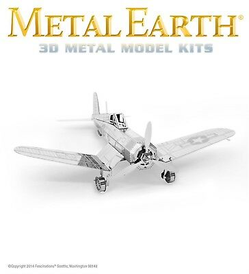 Fascinations Metal Earth F4U Corsair WWII Fighter Airplane Laser Cut 3D Model