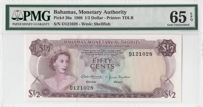 1968 BRITISH COLONY BAHAMAS QEII $1/2 **Consecutive 2 of 2** (( PMG 65 EPQ ))