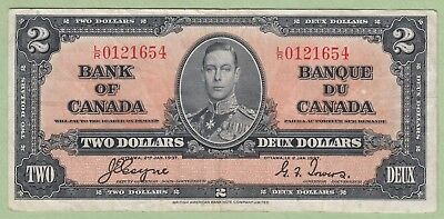 1937 Bank of Canada 2 Dollar Note - Coyne/Towers - L/R0121654 - VF