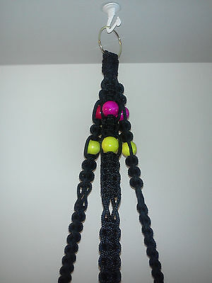 TMP-Macrame plant hanger Black with w/ Red n Yellow beads