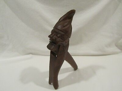 Vintage Nut Cracker Hand Carved Wood Gnome/troll, Black Forest,  11""