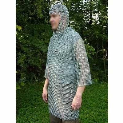 Butted Aluminium Chain Mail Shirt & Coif Set, Chainmail Haubergeon with Hood