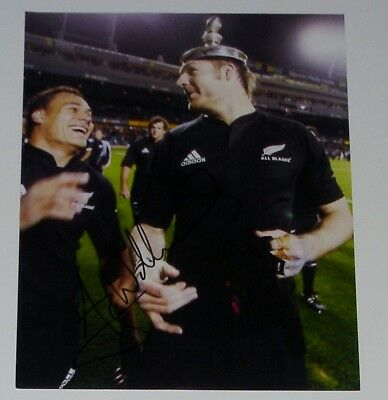 Ali Williams New Zealand All Blacks  Rugby Hand Signed Autograph 10X8 Photo