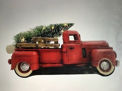 Vintage Red PICKUP Truck LED Christmas Tree Antique Chevy Truck With Bear