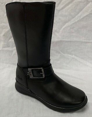 BNIB Clarks Girls Mariel Star Black Leather Mid Calf School Boots E/F/G/H