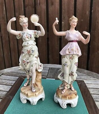 Pair Of Antique French Porcelain Figures Of The Arts - Music And Literature