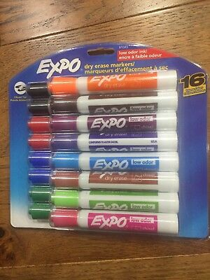 Expo 81045 Low-Odor Dry Erase Markers Chisel Tip Assorted 16-Count