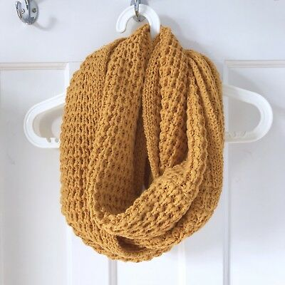 """Miss Selfridge Mustard Yellow Chunky Cable Knit Infinity Scarf Snood Length 32"""""""