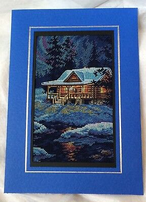 Extra Large Completed Cross Stitch Christmas Card - Moonlit Cabin