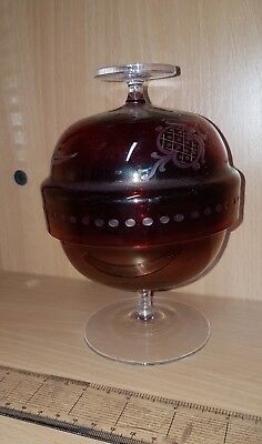 CRANBERRY RED CUT GLASS SWEET BOWL IN 2 PARTS vintage RARE BOWL 99p LID ENGRAVED