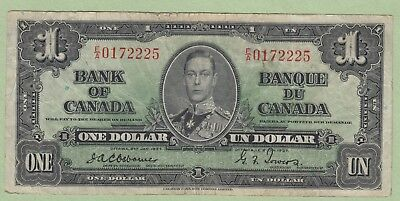 1937 Bank of Canada One Dollar Note - Osborne/Towers - E/A0172225 - Fine