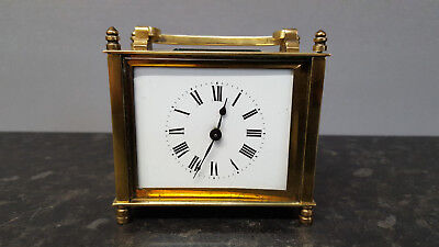 Unusual Brass Carriage Clock with Jewelled Lever platform Movement