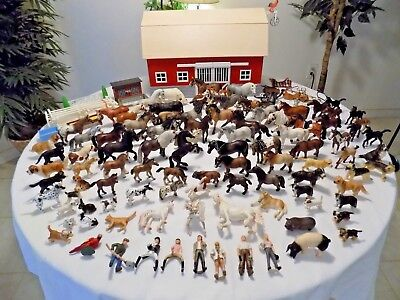 Schleich HUGE Horses Barn Lot Farm Cows Dogs Hutch Accessories Over 100+ Items!