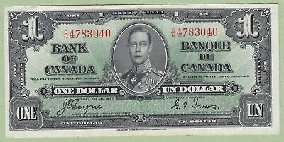 1937 Bank of Canada One Dollar Note - Coyne/Towers - S/N4783040 - AU
