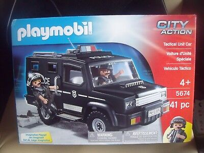 NEW PLAYMOBIL 5674 City Action Police Tactical Unit Car+ 2 Figures &  Accessories