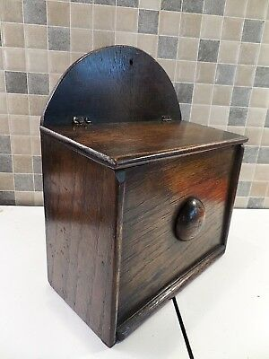 Antique Georgian Solid Oak Candle Box Will Stand Or Hang - Lovely Condition