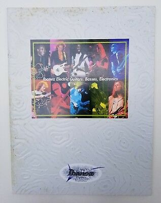 1998 Ibanez 52 Page Embossed Cover Catalog Guitars, Basses, Pedals Many Artists!