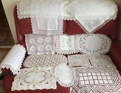 Job Lot Vintage Lace Edged & Embroidered Tray Cloths & Large Doilies