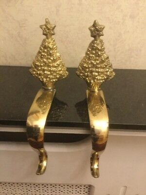 Vintage Pair Of Heavy Brass Christmas Stocking Holders