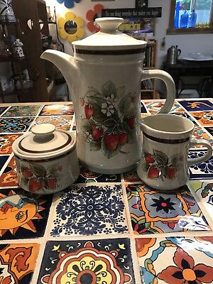 Vintage Haniwa Stoneware Japan Glendale Strawberries Coffee Tea Set