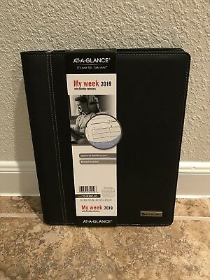 At-A-Glance 2019 Weekly Black Padfolio Planner Calendar New Year 70-NX81-05