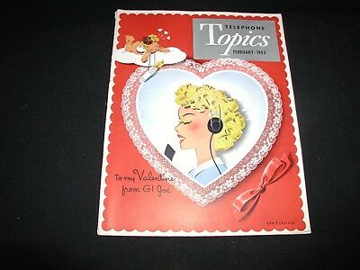Old Vintage New England Telephone Topics Magazine February 1945 Valentine Cover