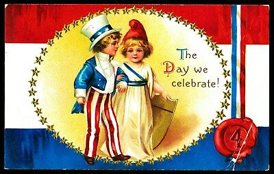 VICTORIAN JULY 4th CLAPSADDLE POSTCARD / RED, WHITE & BLUE / GIRL and BOY