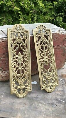 2 x Vintage Brass Door Finger Plate Decorative Cast Metal Push Plate *
