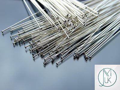Solid 925 Sterling Silver Flat End 1.5inch 38.1mm Head Pins Jewellery Making