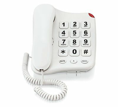 Big Button Corded telephone Landline Hearing Aid compatible wall mountable