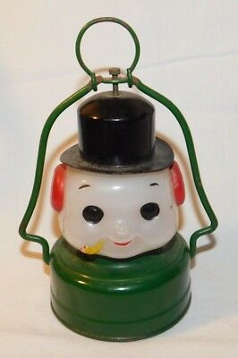 RARE old Christmas Holiday Snowman Battery Operated Glass Light Lantern