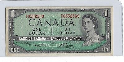 1954 Unc One Dollar Bank Note From Canada