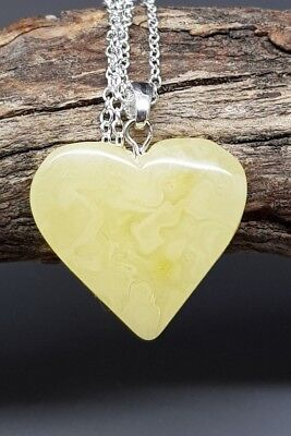 2 gr Genuine Natural Butterscotch Baltic Amber Heart Pendant Necklace