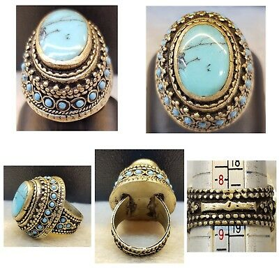 Soild Silver Old Real Persian Lovely Turquoise Stone Wonderful Unique Ring #32TR