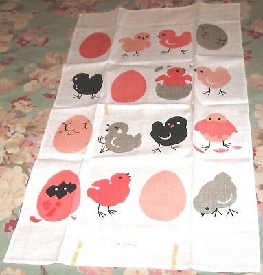 "VINTAGE LINEN DISH TOWEL THE CHICKEN & THE EGG KITCHEN TEXTILE TOWEL 16"" x 29"""