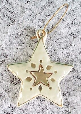 Porcelain Star Ornament White with Gold Trim Has a Star Within a Star
