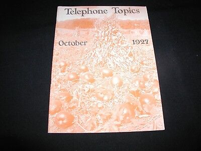 Old Vintage New England Telephone Topics Magazine October 1927 Pumpkins Cover