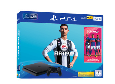 SONY PlayStation PS4 Slim 500GB Schwarz + EA Sports Fifa 19 NEU / OVP