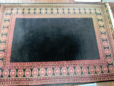Turkish Rug Fringed With Black Background & Decorated Border Nylon Set