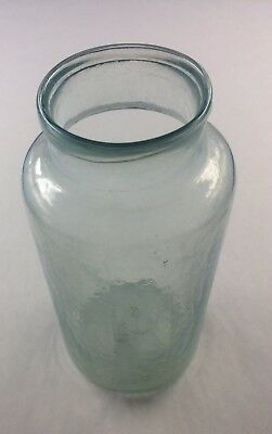 Civil War Era Aqua Blown Glass Food Or Medicine Bottle