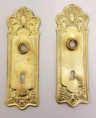 """2 Large 8"""" x 2.5"""" Ornate Vintage Solid Brass Door Back Plates with Key Hole pair"""