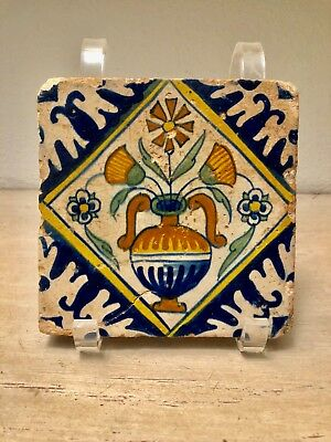 Early Antique Dutch Delft polychrome Flower Tile Early 17th Century intact
