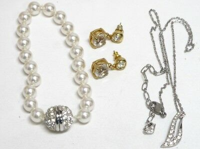 Vintage Swarovski Swan Signed Rhinestone Jewelry Lot Bracelet Earrings Necklace