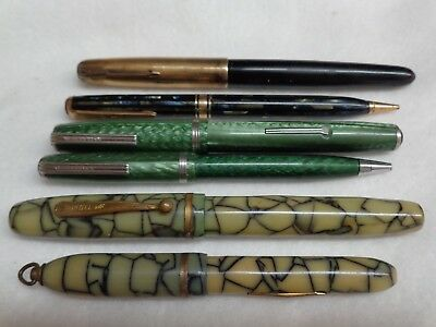 6-Vintage Fountain Pens & Pencils Parker,Wearever,Esterbrook